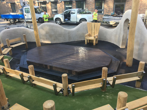 The Bilingual Primary School Project Hove - Gaudi Theatre, Bespoke Robinia Equipment, Bespoke Robinia Timber, hardwood shakes, Robinia Timber