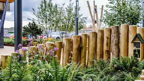 Rushden Lakes Garden Sq - Macgregor Smith - FSC® Certified Stocks of Hardwood Robinia Timber Importers Stockists Robinia Suppliers Posts Boards Decking